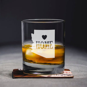Arizona Home Glass, Engraved State, Personalized State, Whiskey Glass, Rocks Glass, Arizona Gift, State Whiskey Glass, Home State Glass