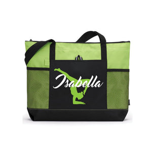 Custom Gymnast Bag, Gymnast Tote Bag, Personalized Tote, Lime Green Tote Bag, Gymnast Gift, Gymnast Team gift, Personalized Bag, Gymnast Mom