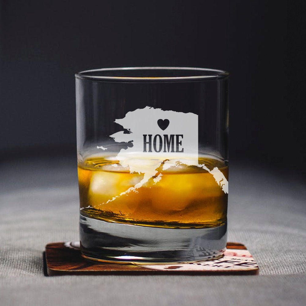 Alaska Home Glass, Engraved State, Personalized State, Whiskey Glass, Rocks Glass, Alaska Gift, State Whiskey Glass, Home State Glass