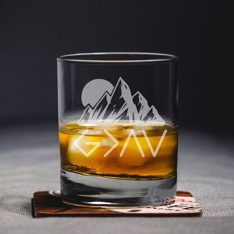 God is greater than the highs and lows, Rocks Glass, Engraved Whiskey, Etched Whiskey , Mountain Etching, Jesus Whiskey, Religion