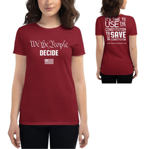 We Decide Tee in Red, Blue, Grey, Black (Women's)