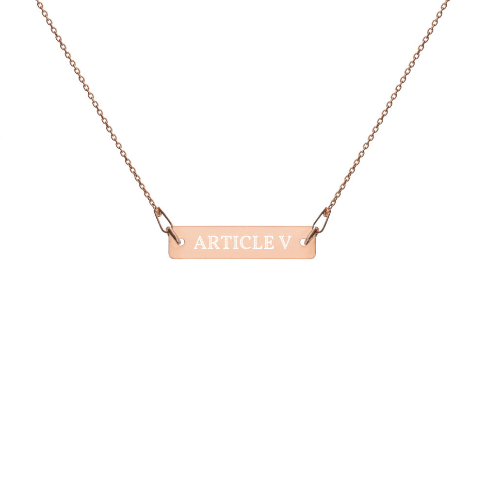 Article V Engraved Necklace in Gold, Rose, Silver, and Black