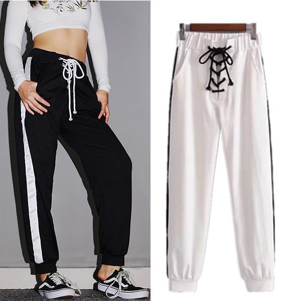 Front Lace-up Side Striped Loose Sweatpants