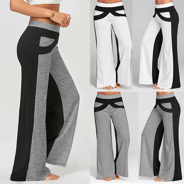 Casual Elastic Waist Flare Patchwork Yoga Pants