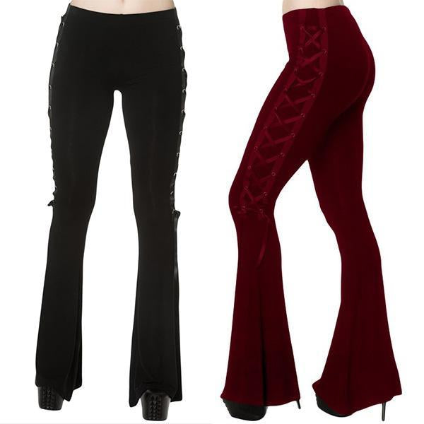 Stretch Side Bandage Gothic Bell Bottom Pants