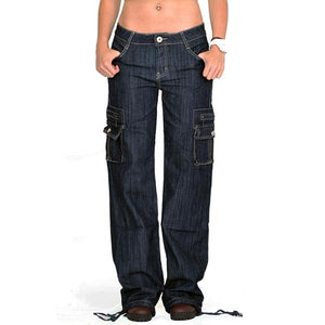 Wide Leg Loose Multi Pockets Carpenter Jeans