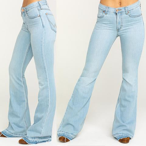 Simple Frayed Washed Stretchy Bell Bottom Jeans