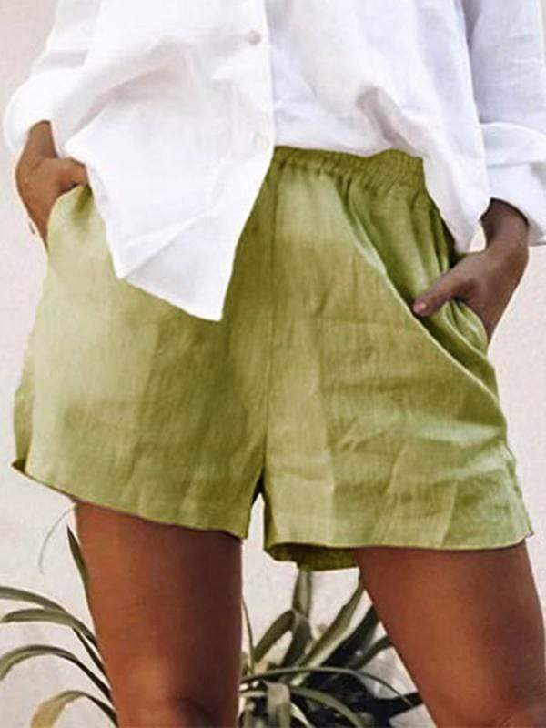 wiccous.com Plus Size Bottoms Green / L Large Size Cotton Linen Shorts