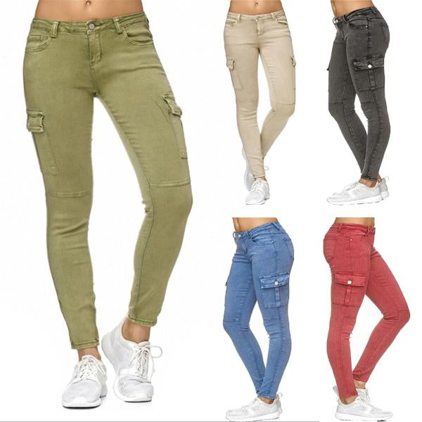 Trendy Hip Hugger Slim Fit Cargo Jeans