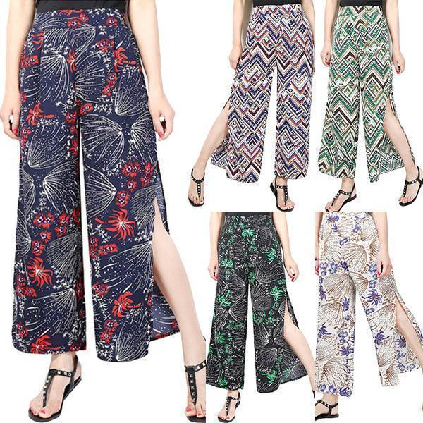 Ladies Vintage Slim Wide Leg Split Casual Pants