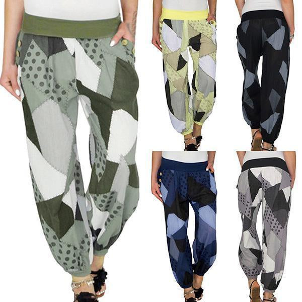 Casual High Waist Print Stretch Baggy Yoga Pants