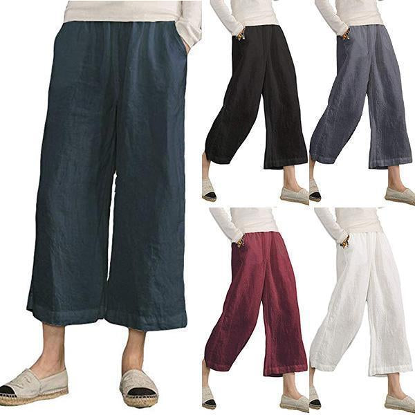 Loose Elastic Waist Cotton trousers Cropped Wide Leg Pants