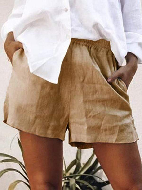 wiccous.com Plus Size Bottoms Khaki / L Large Size Cotton Linen Shorts
