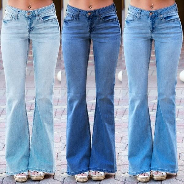 70s Retro Vintage Mid Rise Slim Bell Bottom Jeans