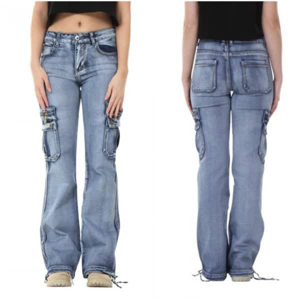 Hip Hugger Multi Pockets Carpenter Jeans