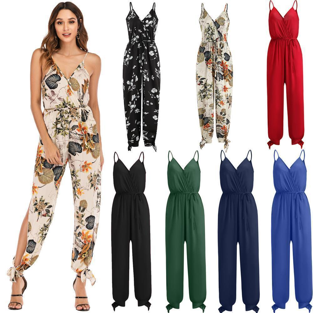 V-neck Side-Slit Cotton Spaghetti Straps Jumpsuit