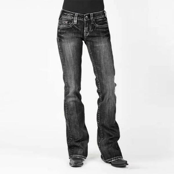Women's Stretch Mid-waist Washed Boot-cut Jeans