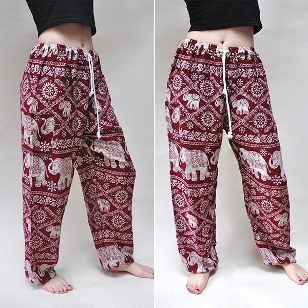 Elephant Drawstring Casual Harem Pants