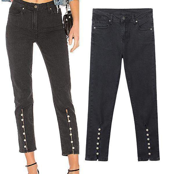 Black High Waist Pearl Jeans