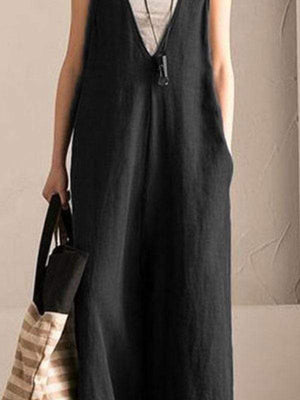 wiccous Black / L Plus Size Strap Wide Leg Pants