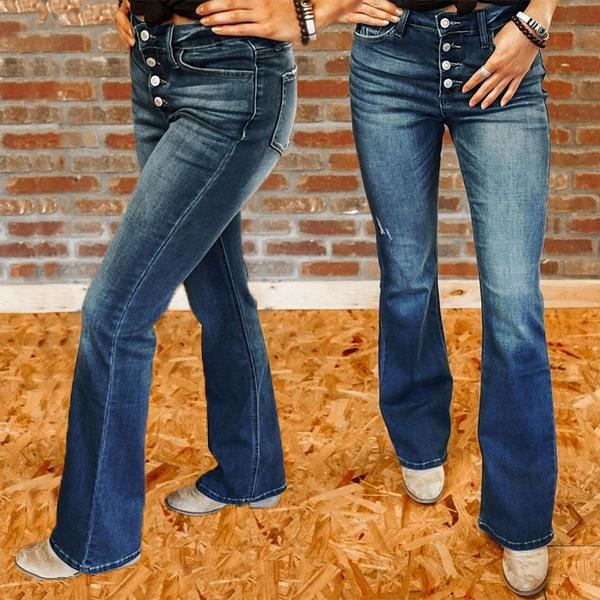 Mid-rise Trendy Button Boot-cut Jeans