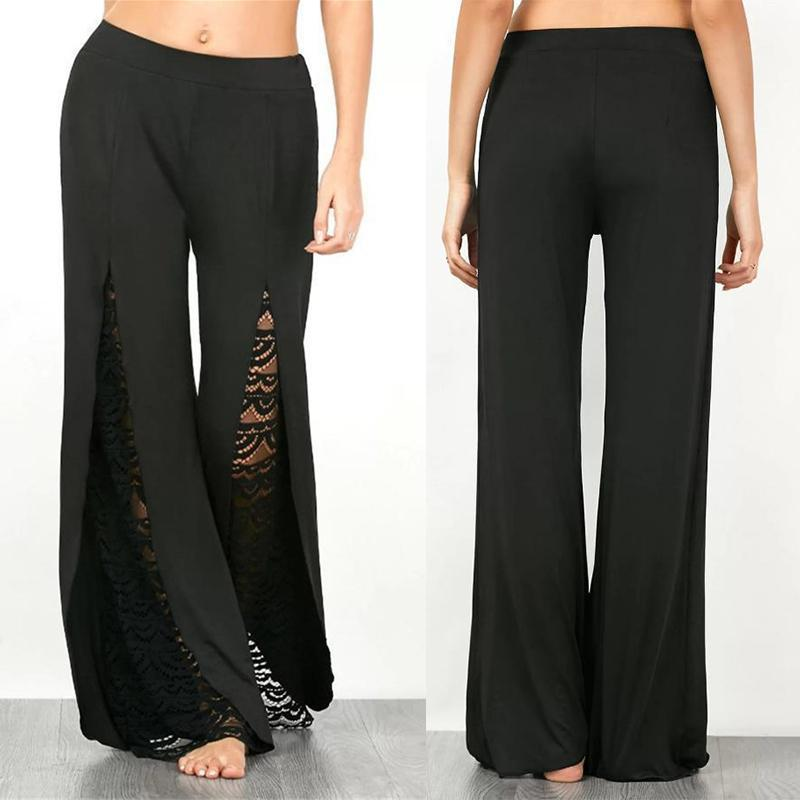 Lace Splicing High-rise Flared Pants