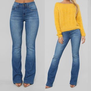 70s Stretch High Waist Casual Boot-cut Jeans