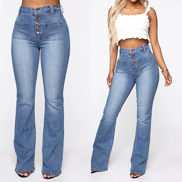 Washed High Waist Button Boot-cut Jeans