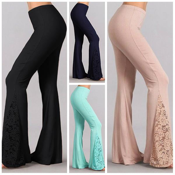 Women's 2019 Newest Boho Super Flare Lace Patchwork Bell Bottom Pants