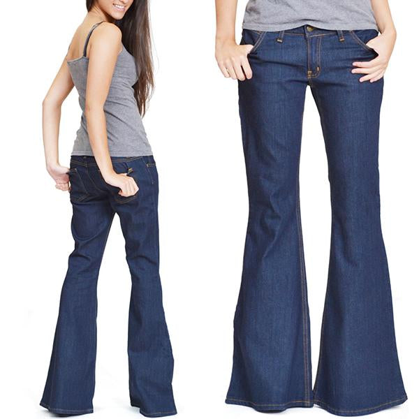 Dark Wash Stretchy Wide Flared Jeans