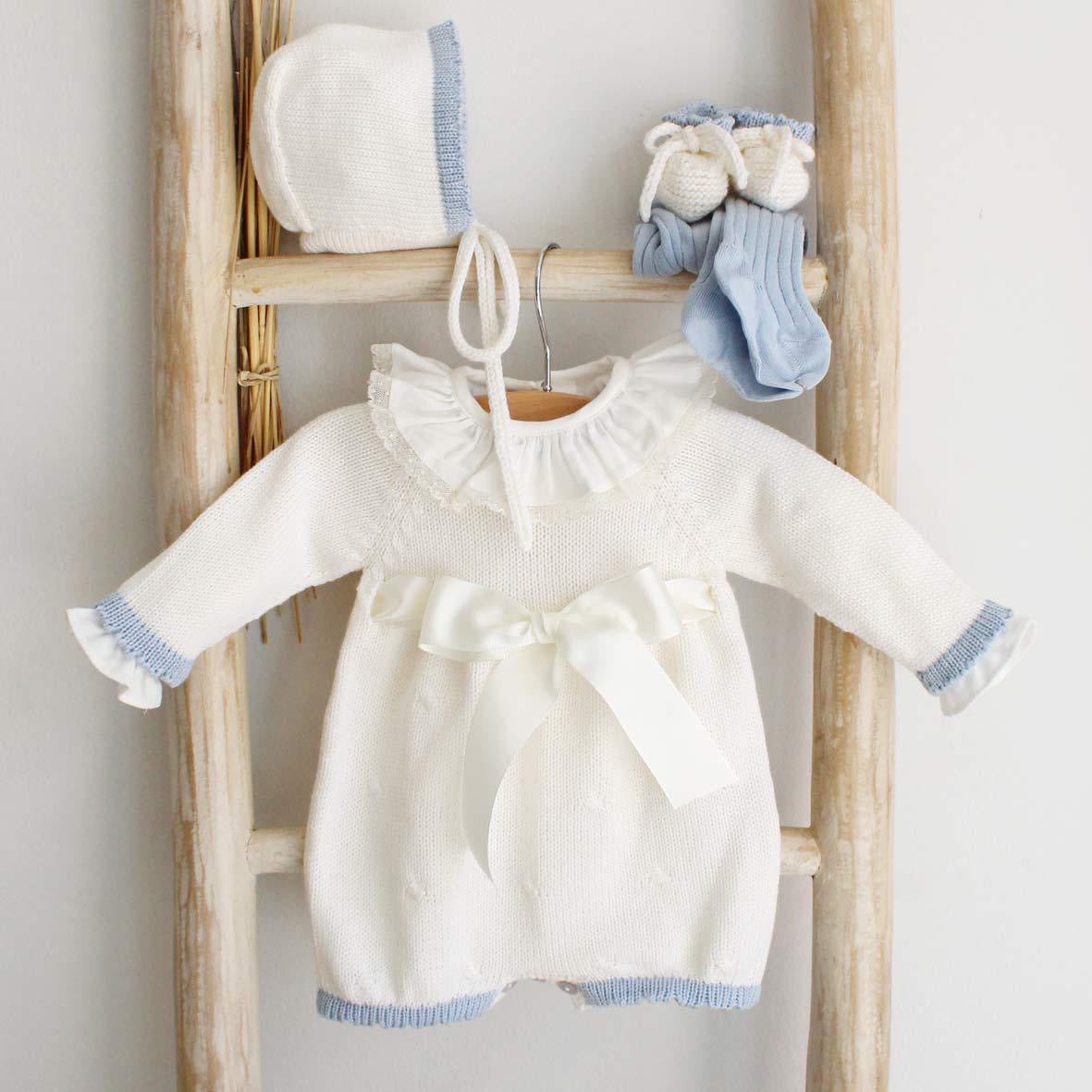 Pukatuka Cream & Blue Bow Knit Romper