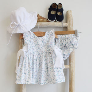 Pukatuka Blue Floral with Plumeti Bow Sun Suit