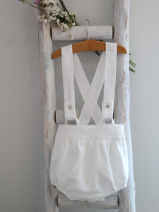 White Linen Shorts with Straps