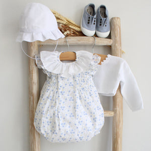 Pukatuka Blue Floral Smocked Romper/Bloomer Set/Dress