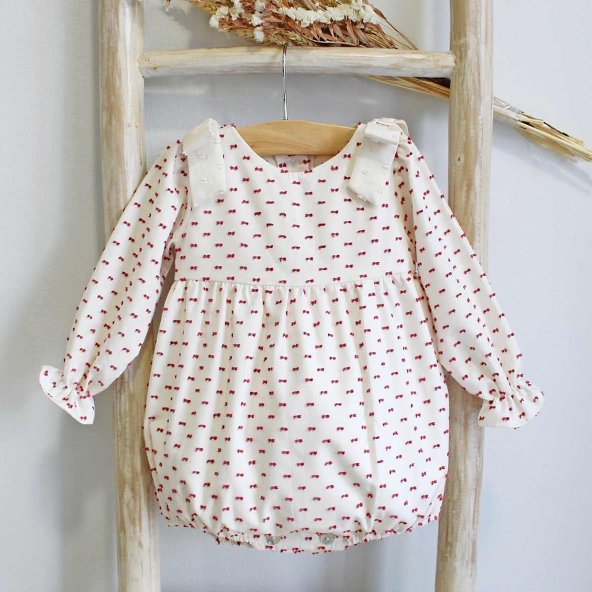 Pukatuka Red Plumeti Romper/Bloomer Set