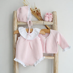Pukatuka Pink Knit Romper with Collar
