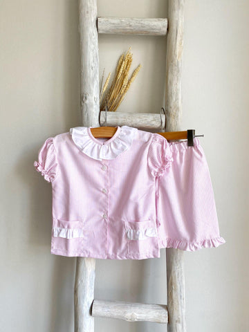 Pukatuka Short Pink Stripes Pajamas with English Embroidery