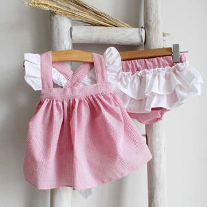 Pukatuka Red Stripes Ruffle Bloomer Set
