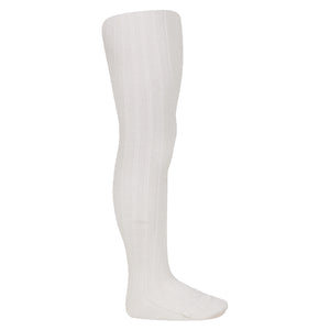 Condor Wool Ribbed Tights-Ivory