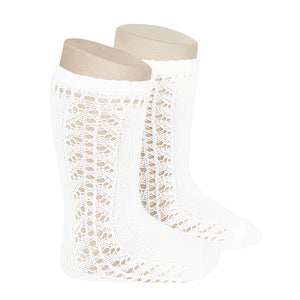 Condor Side Crochet Knee Sock-White