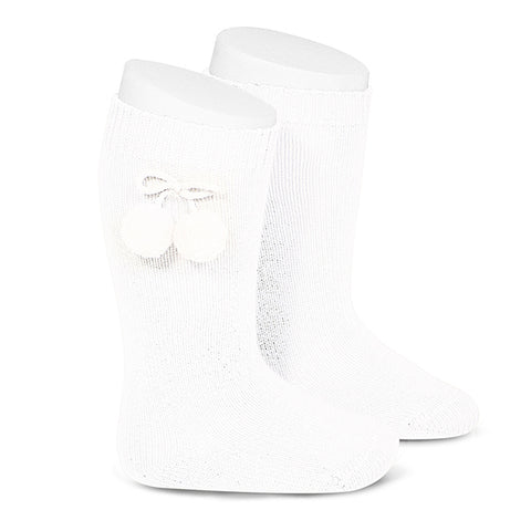 Condor Pom Pom Knee Sock-White