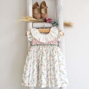 Pukatuka Liberty Floral Embroidered and Smocked Dress/Romper