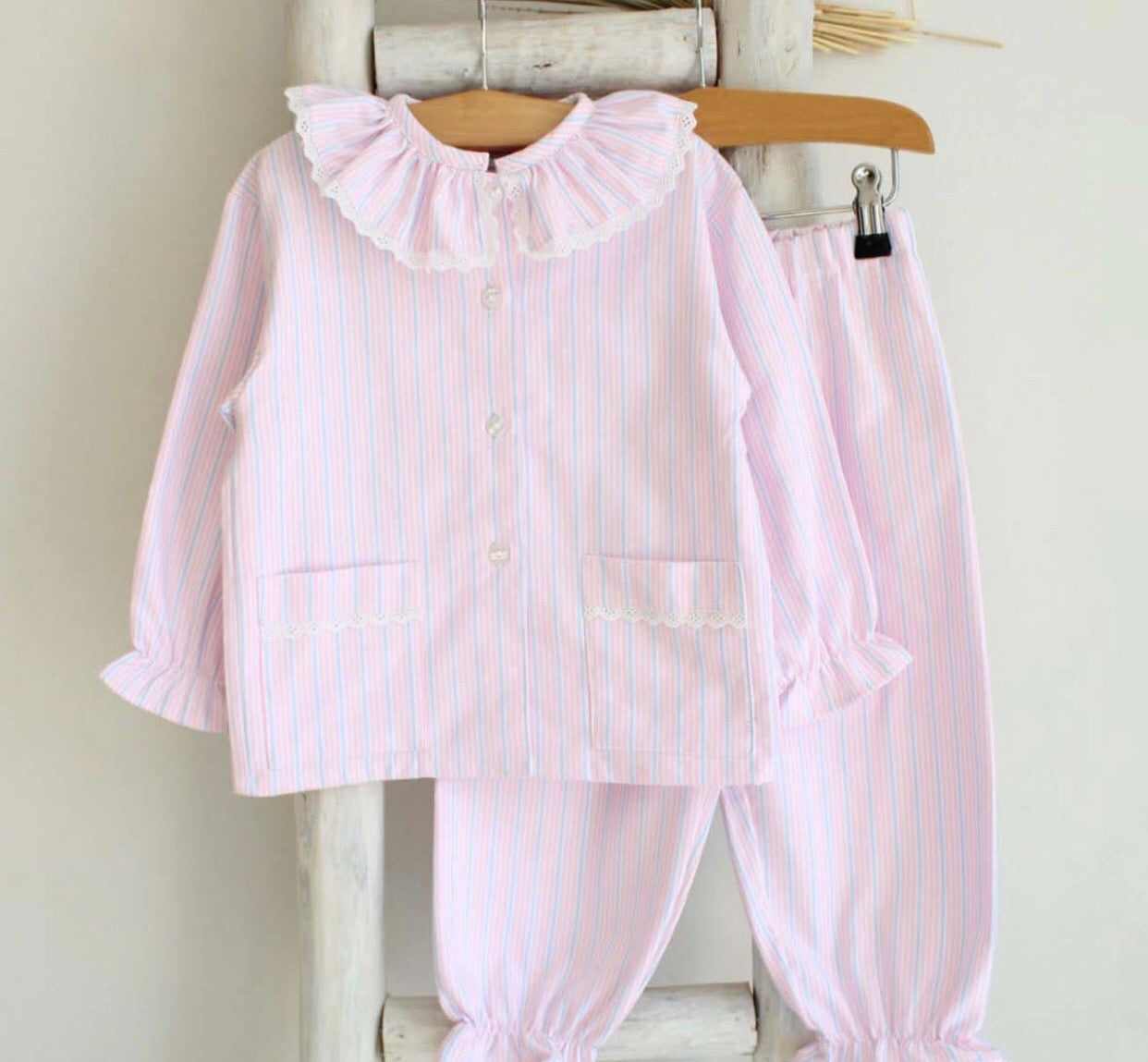 Pukatuka Pink and Blue Striped Pajamas