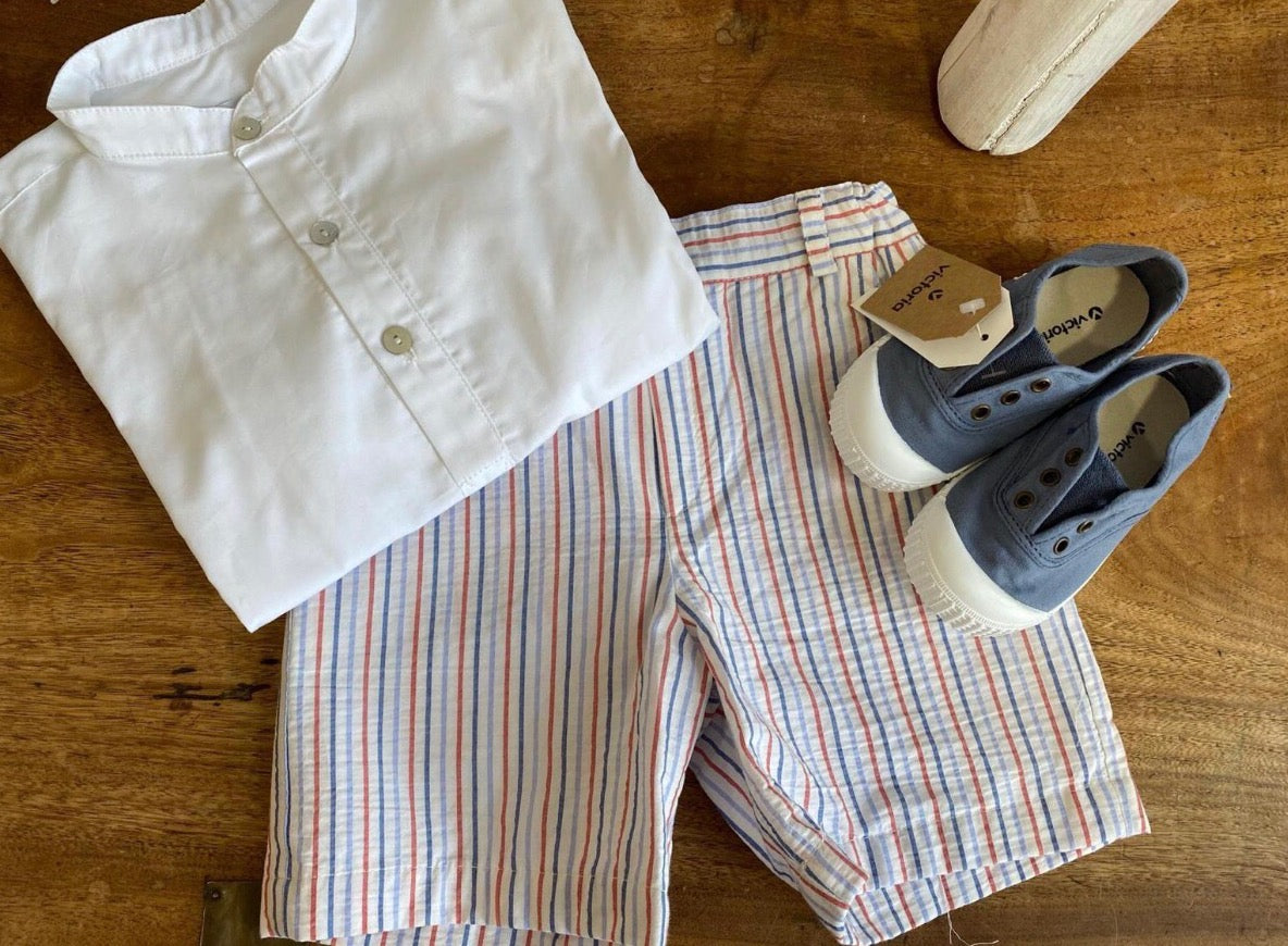 Pukatuka Blue and Red Striped Shorts