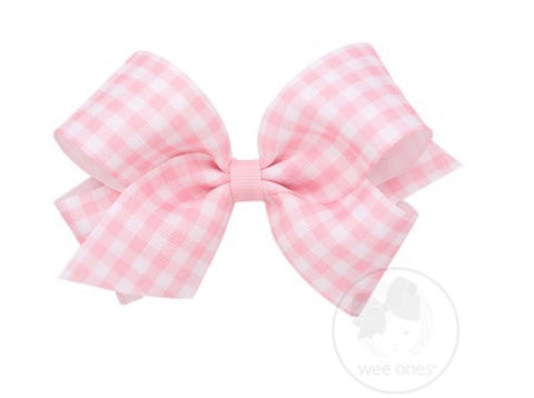 Wee Ones Gingham Light Pink Bow- Medium
