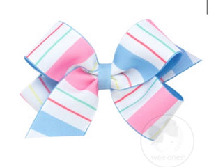 Wee Ones Summer Stripes Bow- Medium