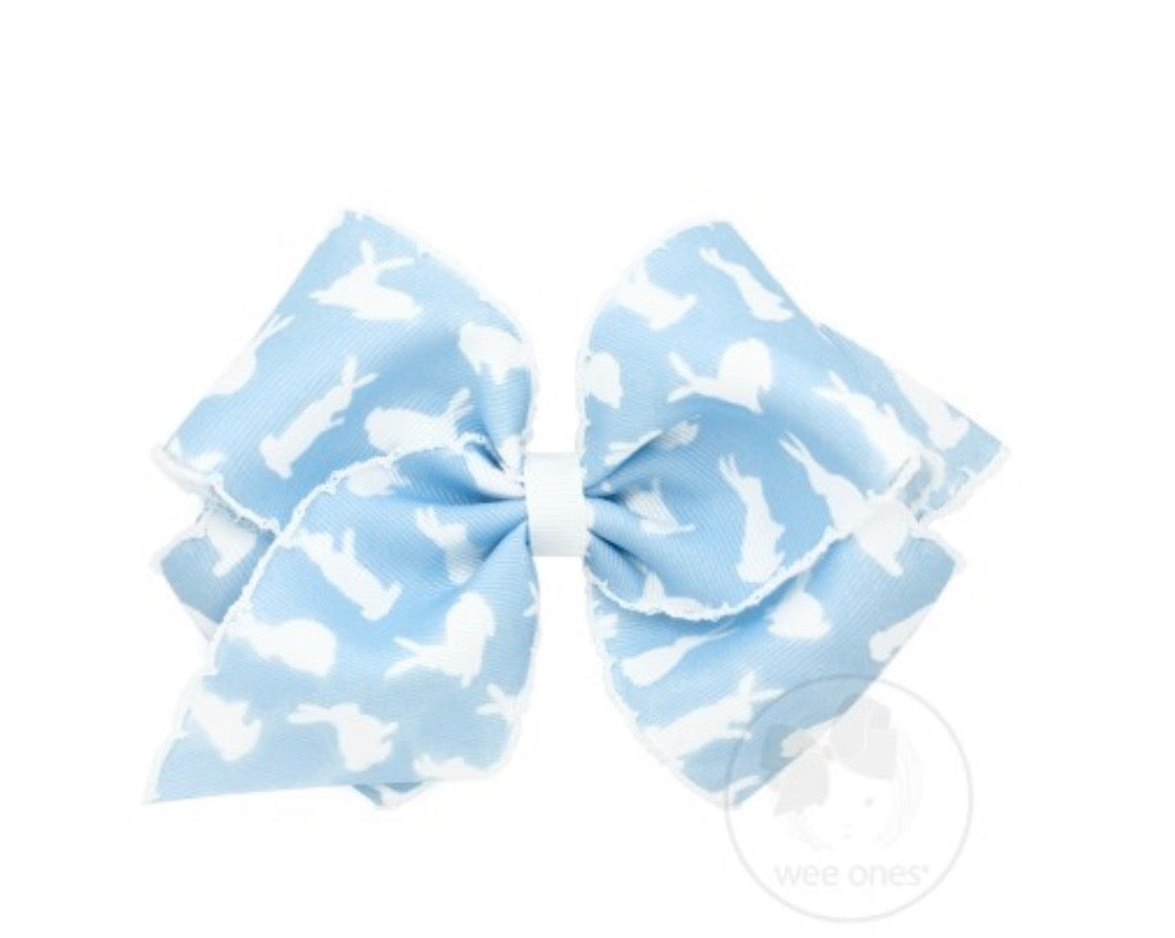 Wee Ones Blue Bunny Print Bow-Mini King