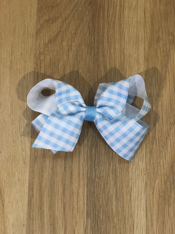 Wee Ones Blue Gingham Bow-Medium
