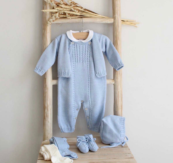 Pukatuka Knit Overalls- Blue & Gray