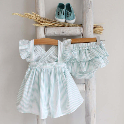 Pukatuka Mint Stripe Girls Bloomer Set
